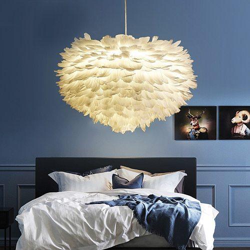 Feather Pendant Lights Hanglamp Pendant Lamp Nordic Design Lustre Vintage Loft Decor Dining Room Kitchen Home Light Fixtures LED