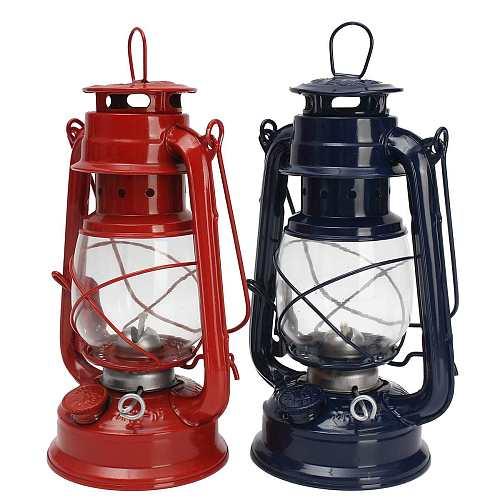 Portable Retro Style Outdoor Camping Kerosene Lamp Oil Light Lantern Style Decor Multifunction Iron 4 Colors Camping Lamp