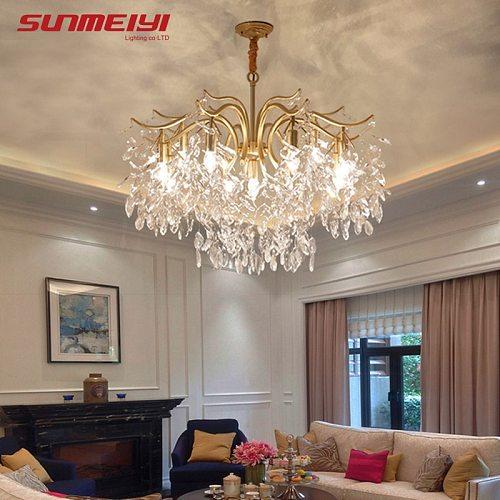 Nordic LED Crystal Chandeliers Gold Black Chandelier Luxury Lighting Kitchen Dining Living room Bedroom Lamp lustre pendente