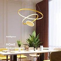 Artpad Round Rings Led Pendant lamp Modern Hanging Ceiling Chandelier for Loft Living Dining Room Kitchen Gold Foyer Lighting