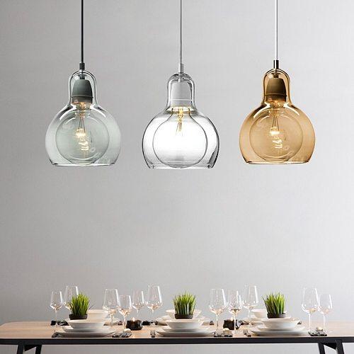 Artpad Hanging-light Fixture Glass Bar Pendant Light with E27 Cement Lamp Holder for Kitchen Restaurant Dining room 110 220V