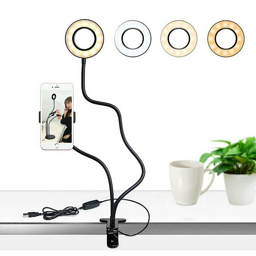 Selfie Live Lighting LED fill Ring Light w/Phone Holder f/Photo Studio Youtube Live Streaming Makeup Lamp USB powered Clip stand