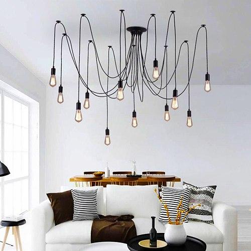 Industrial Pendant Lamp Nordic Spider E27 Loft Retro Edison DIY Adjustable Ceiling Hanging Lights Dining Living Room Chandelier