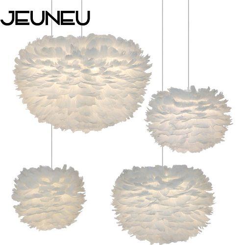 Modern Romantic White Nature Goose Feather Pendant Lamp E27 LED Bedroom Decoration Pendant light for Home Restaurant living room