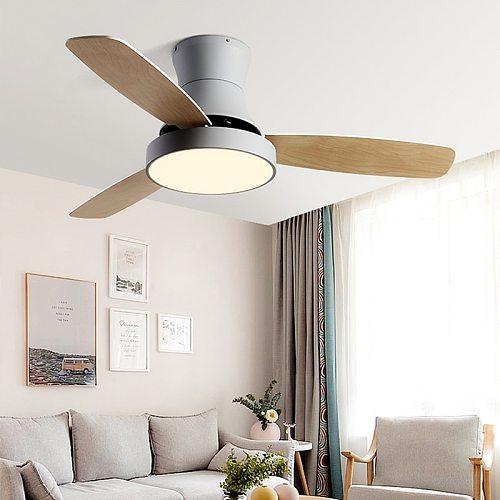 Chaplin Wood Ceiling Fan with Light LED Modern Kitchen/ Restaurant/Bedroom Nordic Low Floor Suction Ceiling Off Fan Lamp 220V