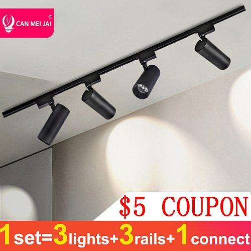 Led Track Light 220V COB Track Lights Rail Lamp 12W 20W 30W 40W Spot Lights Kitchen Fixture For Home Store Foldable Track Lamp