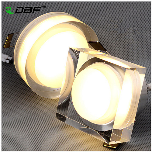 DBF Crystal Embedded in Downlight Square/Round 1W 3W 5W 7W LED Ceiling Recessed Spot Light for Home Decoration Kitchen Lighting