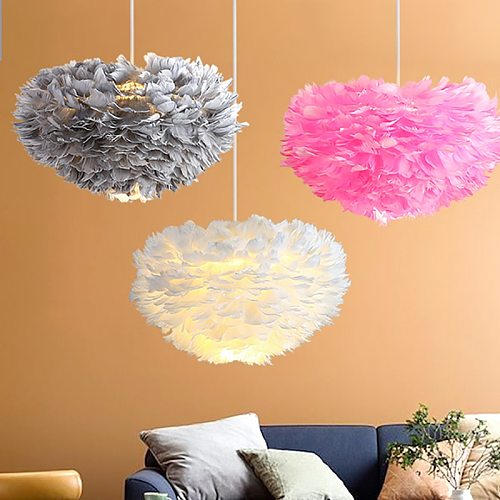 Feather Chandelier Nordic Modern Living Room Bedroom Light Warm Romantic Dining Room  Ins Net Red  Goose Feather Light