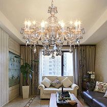 Honhill 10 Arms Chandelier Modern Crystal K9 Glass Living Room Light Candle Pendant Lamp E14 220V