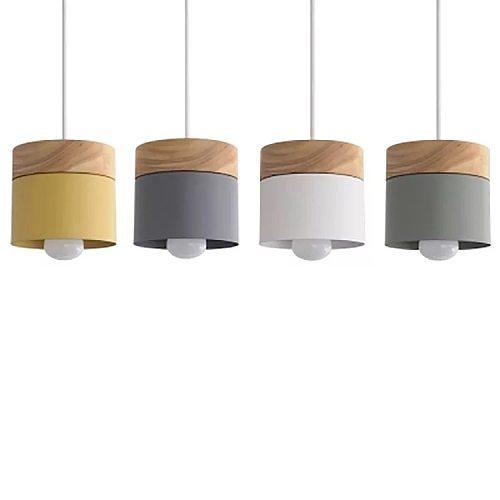 Pendant Light Nordic Led Minimalist Wooden Iron Hanging Lighting Bedside Creative Restaurant Study Bar Macarons E27 Gray Lamps