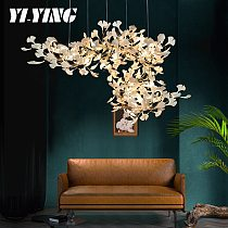 New Style Gold Branches Chandeliers With Porcelain Leaves Chandelier Interior Home Decor Lustre Luxury drawing room Chandelier