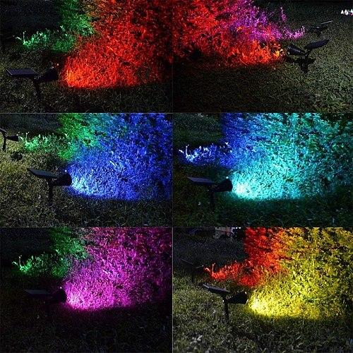 2 SETS 7 LED Solar Spotlights Outdoor Solar Lights Waterproof Color Spot Lights for Garden Landscape Spotlights Dark Sensing Aut