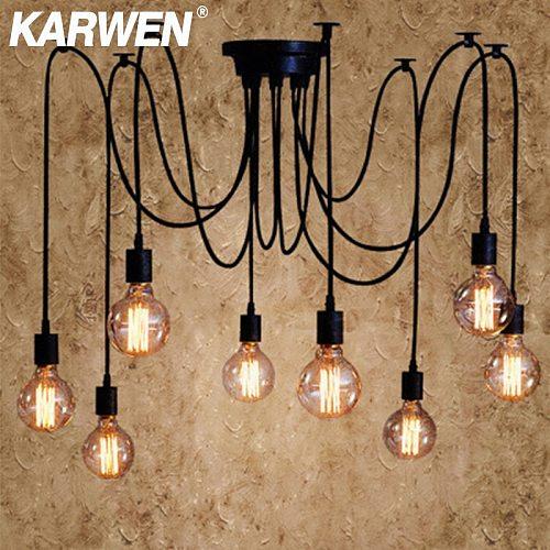 KARWEN Nordic Spider Industrial Pendant Lamp E27 Loft Edison Industrial Hanging lamps Length 120cm 150cm 200cm Pendant Lights