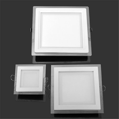 6W 9W 12W 18W 24W LED Panel Downlight Square Glass Panel Lights Ceiling Recessed Lamps LED Spot Light AC85-265V With adapter