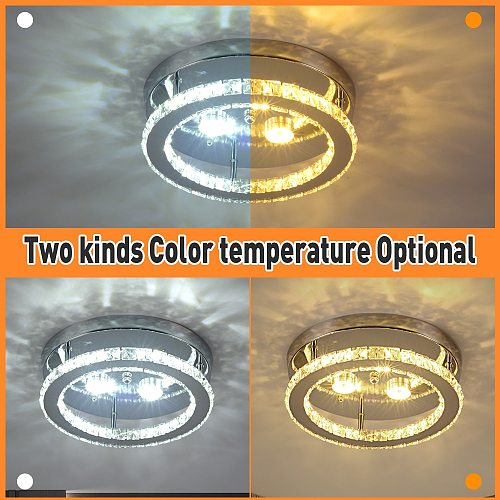 Modern LED Crystal Chandelier Lighting Mirror Rings  Ceiling Lamp for Living Room Kitchen Luminaire Home Decor Light Fixture