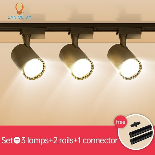 Full Set Led Track Lights 220V 12/20/30/40W COB Track Lamp Lighting Rail Spots Light Fixture Spotlights For Home Kitchen Shop