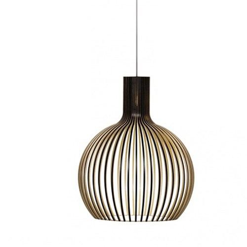 Wood Pendant Light Out Black Birdcage Lamp E27 Living room Decoration Wood Hanging Lamp Dining Room Bedroom Light Fixtures