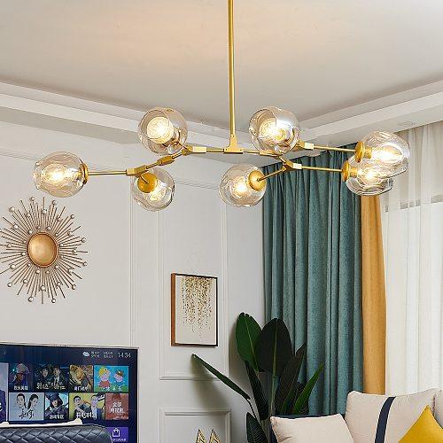Modern Metal LED Chandelier Lighting Lustre Living Room Villa Interior Decor Pendant Lamp Lighting Glass Ball Kitchen Fixtures