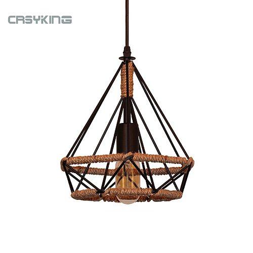Vintage Pendant Light Black Iron Rope Lamp Russia Loft Cage Light Design for Kitchen Dining Bedroom with E27 Edison Lamp Holder