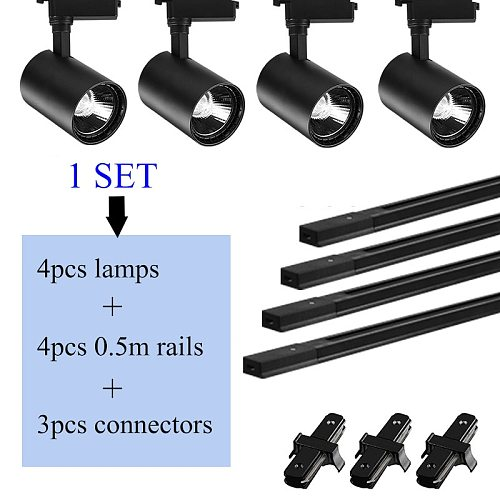 Whole Set Track Lighting Systems LED Track Light Rail 12/20/30/40W COB Spot Lights Fixtures T Track Lamps for Shop Store Home