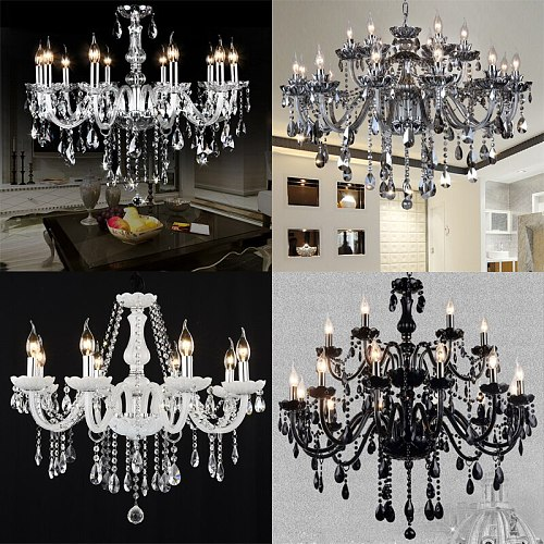 European style living room crystal chandelier candle lamp modern dining room lamp bedroom lamp double chandelier
