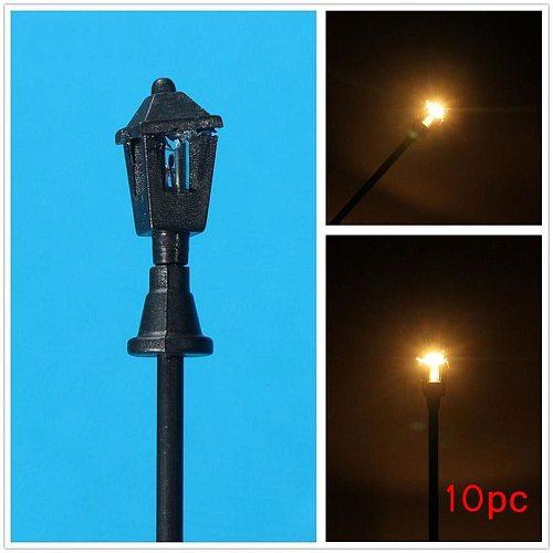 1:100 LED Street Lights Model Building Model Railway Train Lamp Post and Garden Street Decor Lights HO Scale 70mm(5Pcs/Set )
