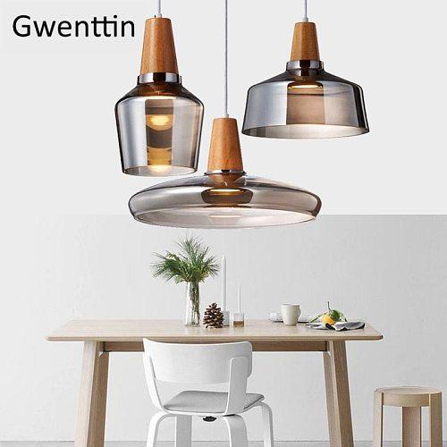 Modern Led Wood Pendant Lights Glass Loft Industrial Decor Nordic Hanging Lamp Suspension Luminaire for Living Room Fixtures E27
