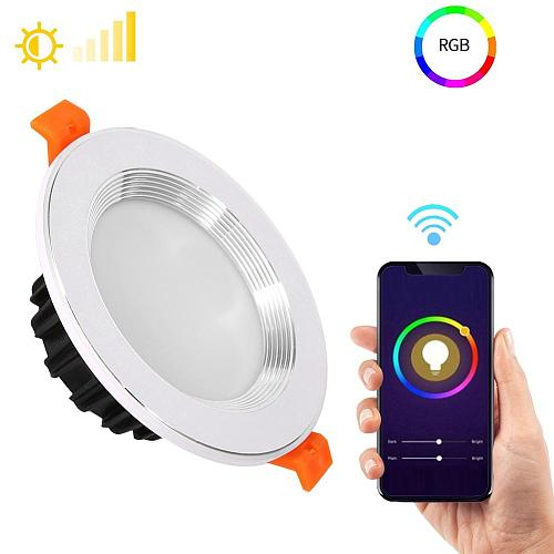 RGBW 9W WiFi Smart Life LED Downlight Led Lamp Ceiling Light Dimmable Living Room Voice Control Suitable For Alexa Google Home