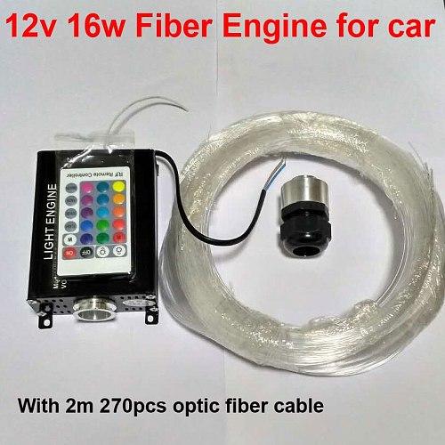 12V 16W RGB LED Fiber Optic Light Star Ceiling Kit Lights for car 270pcs 0.75mm 2M Optical Fiber Engine Lighting 24key Remote