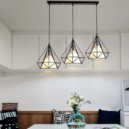 Nordic Three-head Long Chandelier Bar  Restaurant  Living Room Barber Shop  Indoor Lighting Pendant  Decoracion Salon Lamp