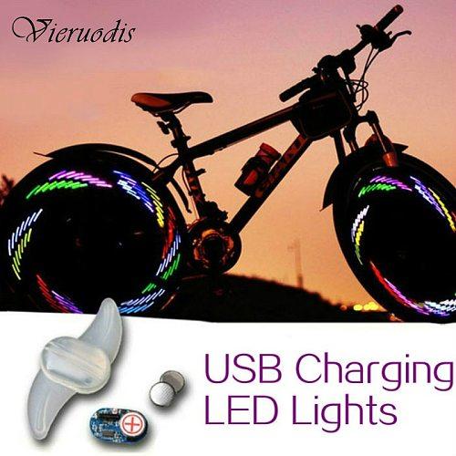 Bike Luminous Wheel Spokes USB Charging LED Lights Lamps New Cycling Riding Spokes Light With Seven Super Bright RGB Blue Led
