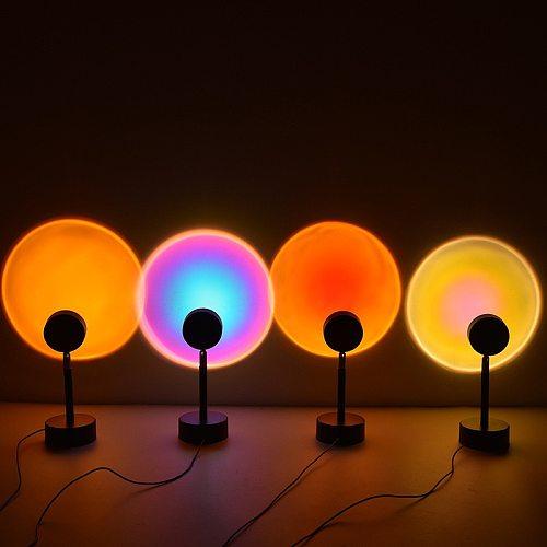 Colorful Rainbow Sunset Projector Les Night Light Desk Lamp Bedroom  Usb Bar Coffee Cafe Shop Wall Washing Lighting