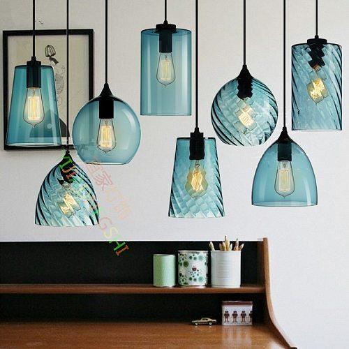 LOFT New Simple Industry E27 Single Head Led Pendant Lamp Crystal Blue Glass Coffee Bar Restaurant Living Room Hanging Lighting