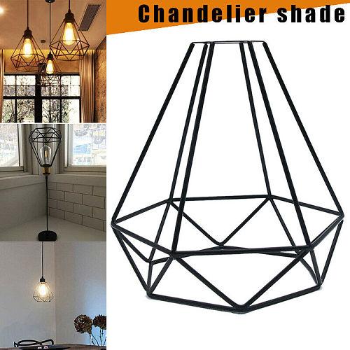 Retro Light Cage Indoor Pendant Light Iron Minimalist Scandinavian Loft Pyramid Pendant Lamp Metal Hanging Lamp Light Cage E27