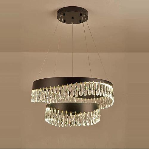 LED Postmodern Crystal Stainless Steel Golden Designer Chandelier Lighting Lustre Suspension Luminaire Lampen For Dinning Room