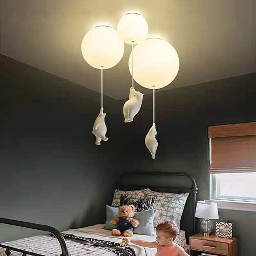 Lovely Cartoon Bear Ceiling Light Warm Ceiling Lamp for Home Kids Room Living Room Bedroom Lamp Decor LED Hanging Light Fixtures