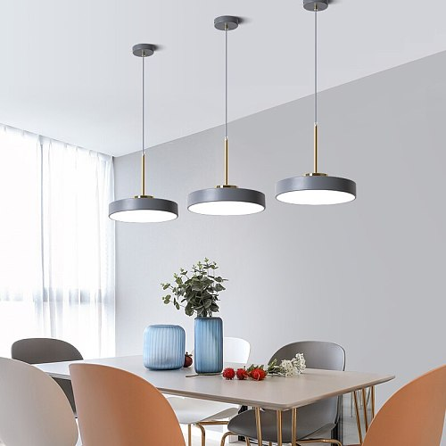 Nordic Indoor Led Dining Room Pendant Light Modern Round Suspension Hanging Lamps Fixtures Luminaire Kitchen Cafe Home Decorate