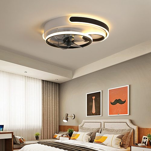Modern Led Ceiling Fan with Lights remote for Living Room Study Room Bedroom lamparas de tech ceiling fans lamp for Bedroom