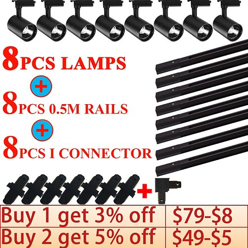 Whole Set Led Track Lights 12/20/30/40W COB Track Lamps for Shop Spotlights Track Lighting for Clothing Store