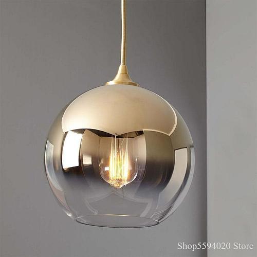 Nordic Living Room Dome Glass Lustre Pendant Lights Post Modern Simple Bedroom Bedside Lights Bar Restaurant Light Luxury
