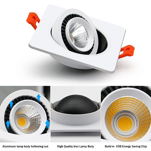 [DBF]Square 360 Angle Adjustable LED COB Recessed Downlight Black/White 5W 7W 10W 12W 15W LED Ceiling Spot Light Pic Background