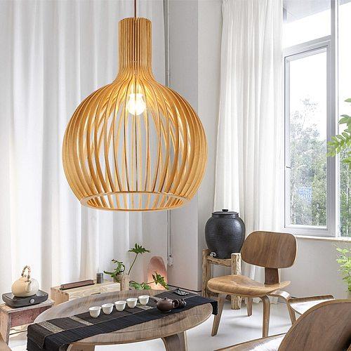 Nordic Black Wood Birdcage Pendant lights Designer E27 bulb bamboo weaving wooden Pendant lamps for Living Room Foyer Bedroom