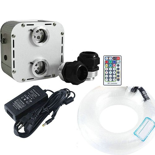 32W RGB LED Fiber Optical Light engine Twinkle Lighting driver Dual head 28key RF remote controlled+3M mixed PMMA plastic cable