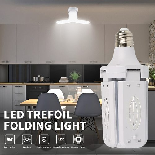 1pc Led Garage Lights Super Bright Foldable Fan Blade Lampada Led Light Bulb 30W 40W 220V For Garage Ceiling Deformable Light
