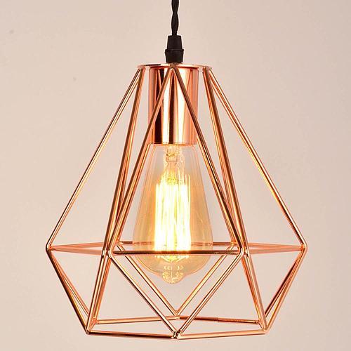modern plating metal cage pendant lamp,vintage plating rose gold birdcage creative hanging lamp for restaurant living room