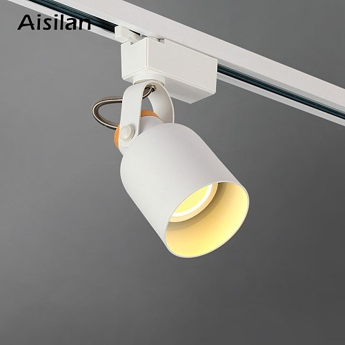Aisilan Nordic LED track spotlight ceiling COB aluminum rail light 360  degrees rotation for living room bedroom corridor  9W