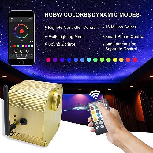 Bluetooth app16W RGBW Twinkle  LED Fiber Optic Light Star Sky Ceiling lights kit 300/450/550pcs *0.75mm for Optic Fiber Lighting