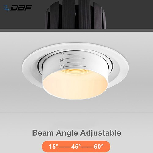 [DBF]15/45/60 Degrees Beam Angle Adjustable LED Recessed Downlight Dimmable 5W 10W 15W LED Ceiling Spot Light 3000K/4000K/6000K
