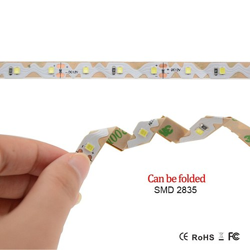 Foxanon Advertising lighting SMD 5050 2835 Folding Light Strip DC12V 60LEDs/m 5M 300leds White Lights DIY Billboard