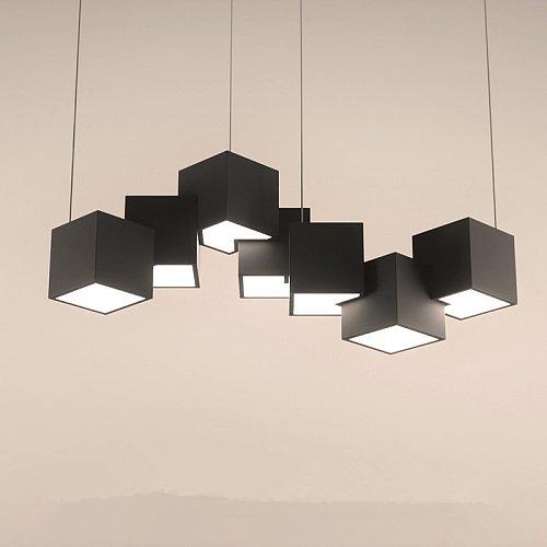 Living room led pendant lights modern bar cube hanging lamp / black / white / simple cafe bar restaurant suspension luminaire